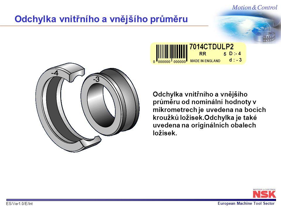 European Machine Tool Sector ES/Ver1.0/E/Int Odchylka vnitřního a vnějšího průměru Odchylka vnitřního a vnějšího průměru od nominální hodnoty v mikrom