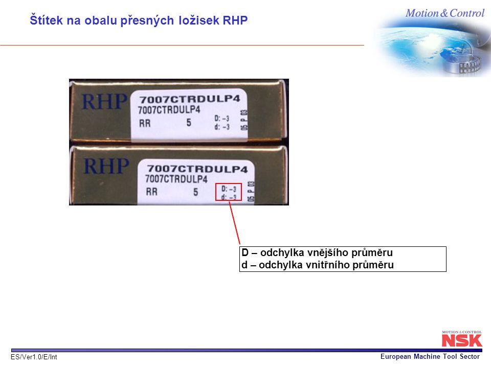 European Machine Tool Sector ES/Ver1.0/E/Int D – odchylka vnějšího průměru d – odchylka vnitřního průměru Štítek na obalu přesných ložisek RHP