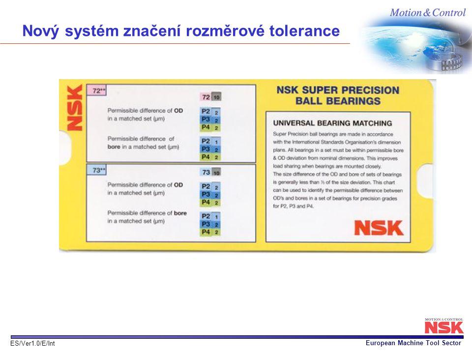 European Machine Tool Sector ES/Ver1.0/E/Int Nový systém značení rozměrové tolerance