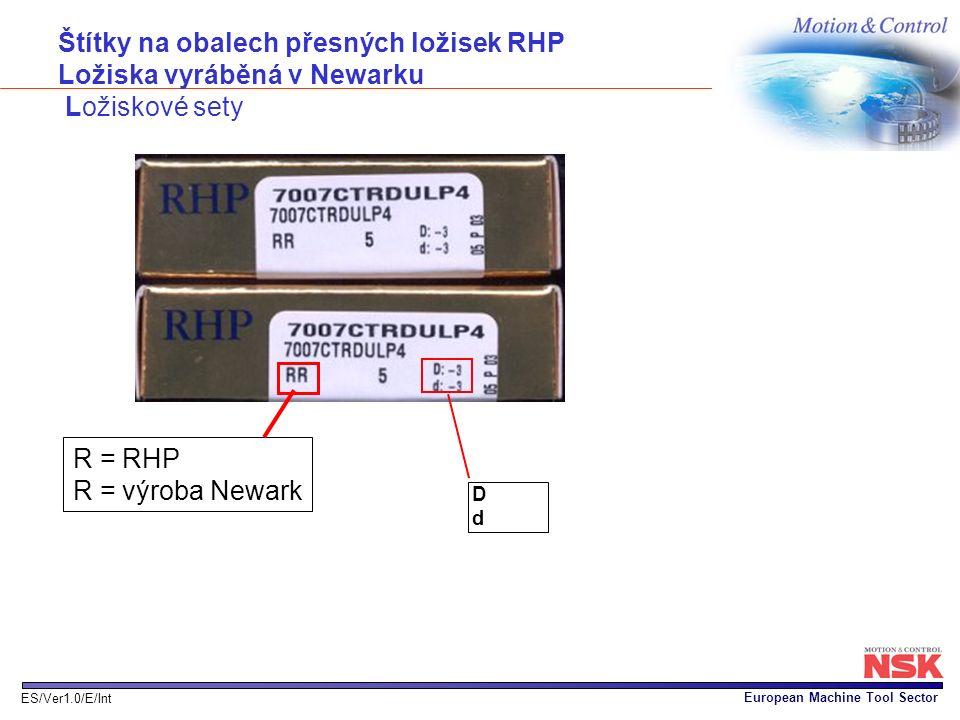 European Machine Tool Sector ES/Ver1.0/E/Int DdDd Štítky na obalech přesných ložisek RHP Ložiska vyráběná v Newarku Ložiskové sety R = RHP R = výroba