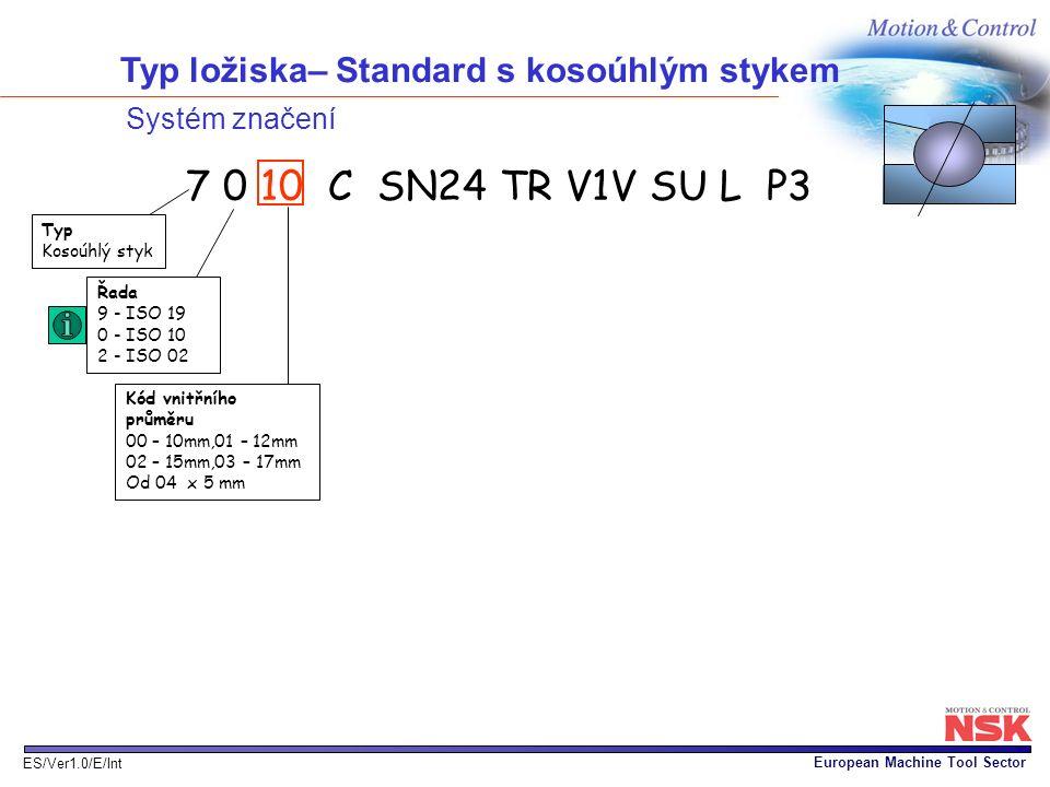European Machine Tool Sector ES/Ver1.0/E/Int Typ ložiska– Standard s kosoúhlým stykem Systém značení Řada 9 - ISO 19 0 - ISO 10 2 - ISO 02 Typ Kosoúhl