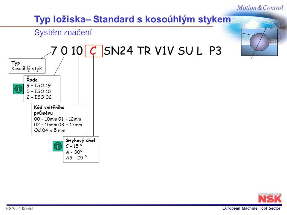 European Machine Tool Sector ES/Ver1.0/E/Int Typ ložiska– Standard s kosoúhlým stykem Systém značení Stykový úhel C – 15 º A - 30º A5 – 25 º Kód vnitř