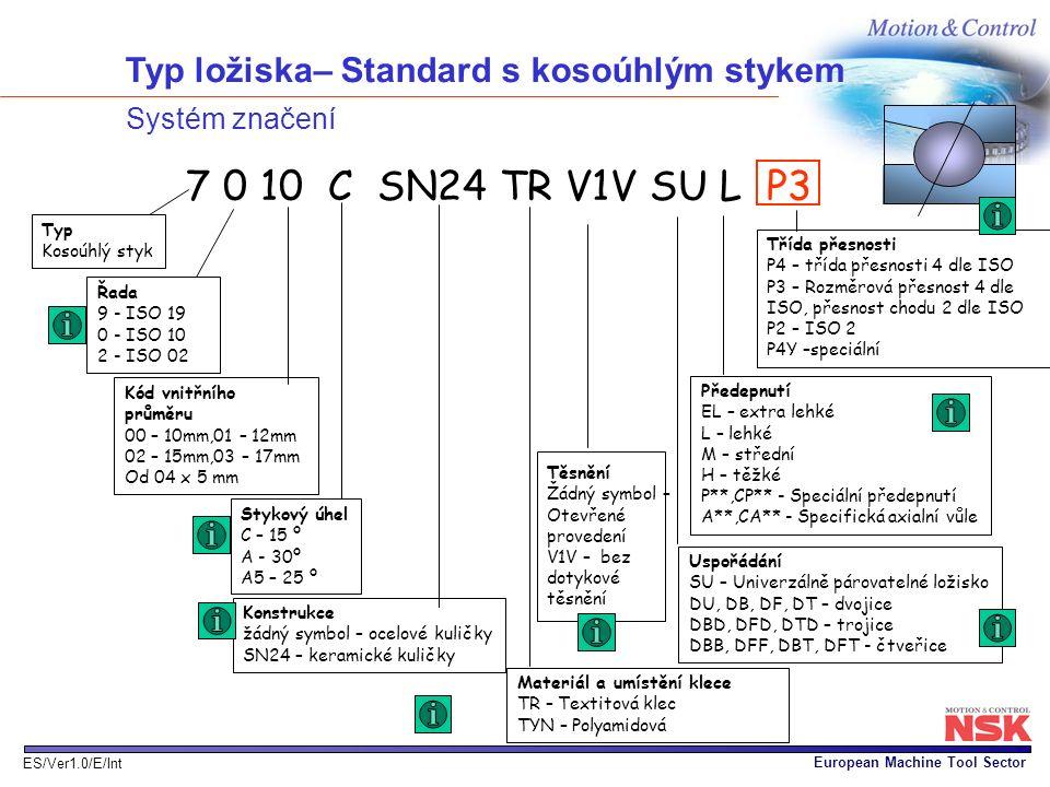 European Machine Tool Sector ES/Ver1.0/E/Int Typ ložiska– Standard s kosoúhlým stykem Systém značení Třída přesnosti P4 – třída přesnosti 4 dle ISO P3