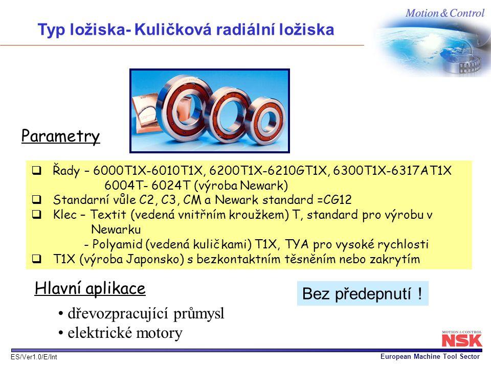 European Machine Tool Sector ES/Ver1.0/E/Int Parametry  Řady – 6000T1X-6010T1X, 6200T1X-6210GT1X, 6300T1X-6317AT1X 6004T- 6024T (výroba Newark)  Sta