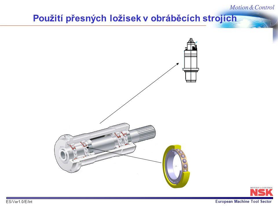 European Machine Tool Sector ES/Ver1.0/E/Int Použití přesných ložisek v obráběcích strojích