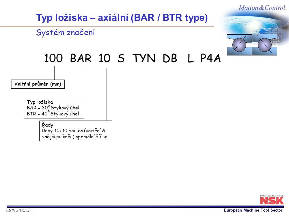 European Machine Tool Sector ES/Ver1.0/E/Int Systém značení 100 BAR 10 S TYN DB L P4A 2B2B Vnitřní průměr (mm) Typ ložiska BAR = 30 Stykový úhel BTR =