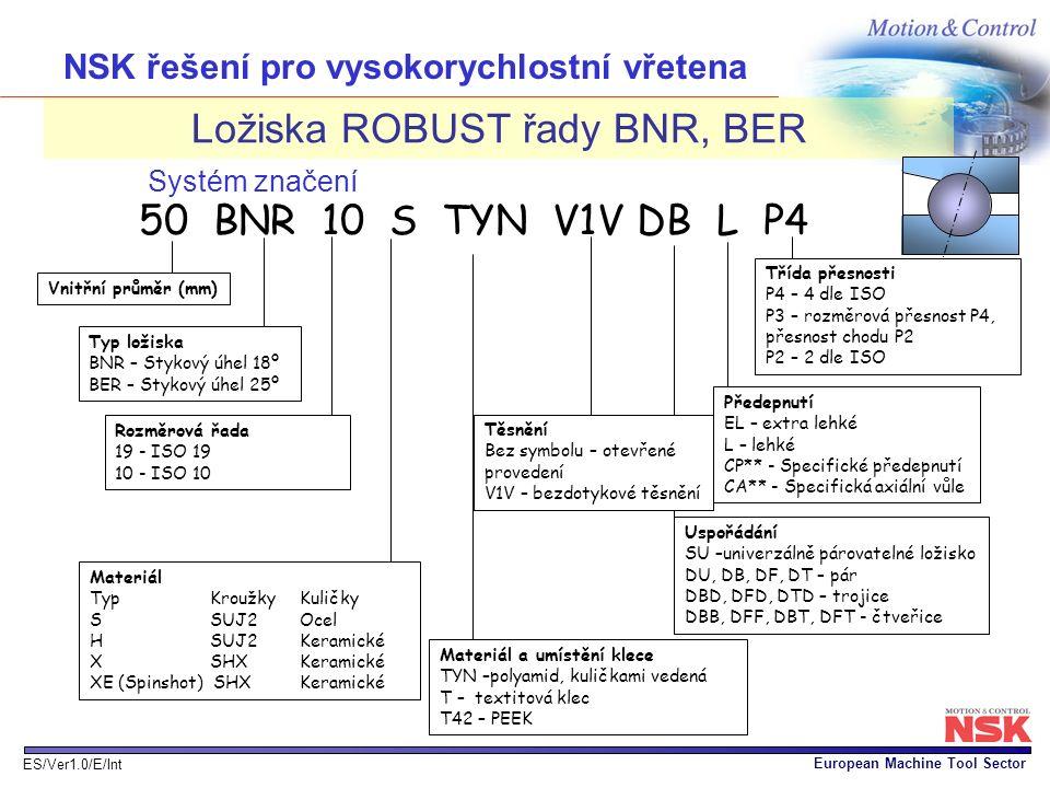European Machine Tool Sector ES/Ver1.0/E/Int Ložiska ROBUST řady BNR, BER Předepnutí EL – extra lehké L – lehké CP** - Specifické předepnutí CA** - Sp