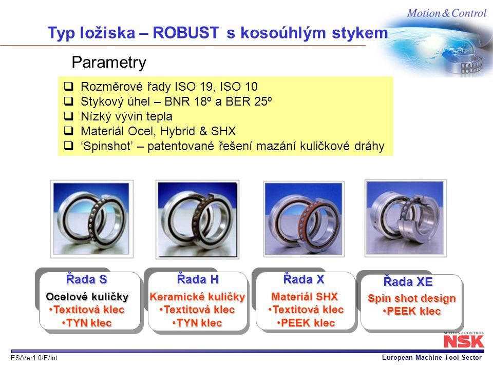European Machine Tool Sector ES/Ver1.0/E/Int Parametry  Rozměrové řady ISO 19, ISO 10  Stykový úhel – BNR 18º a BER 25º  Nízký vývin tepla  Materi