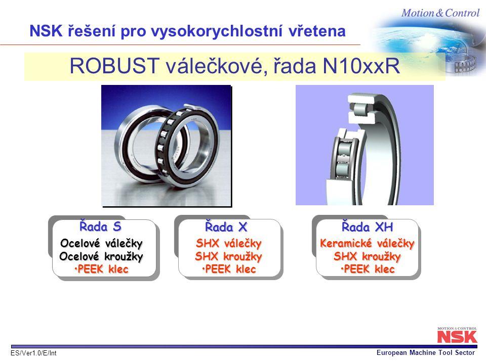 European Machine Tool Sector ES/Ver1.0/E/Int NSK řešení pro vysokorychlostní vřetena ROBUST válečkové, řada N10xxR SHX válečky SHX kroužky PEEK klecPE