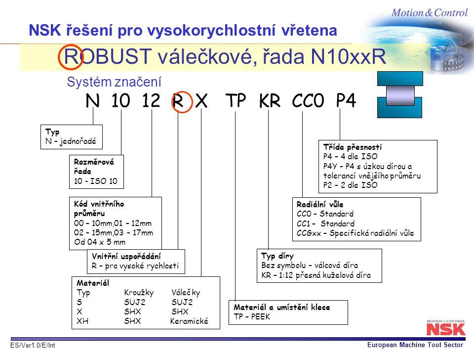 European Machine Tool Sector ES/Ver1.0/E/Int NSK řešení pro vysokorychlostní vřetena ROBUST válečkové, řada N10xxR Systém značení Typ N – jednořadé Ro