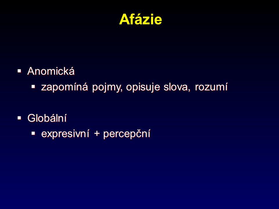Afázie  Anomická  zapomíná pojmy, opisuje slova, rozumí  Globální  expresivní + percepční