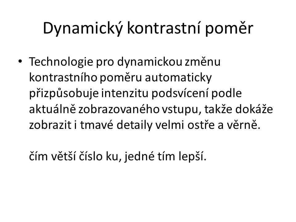 Dynamický kontrastní poměr Technologie pro dynamickou změnu kontrastního poměru automaticky přizpůsobuje intenzitu podsvícení podle aktuálně zobrazova