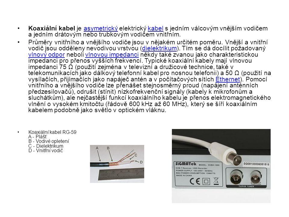 Koaxiální kabel je asymetrický elektrický kabel s jedním válcovým vnějším vodičem a jedním drátovým nebo trubkovým vodičem vnitřním.asymetrickýkabel Průměry vnitřního a vnějšího vodiče jsou v nějakém určitém poměru.