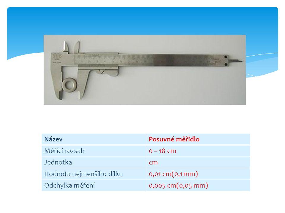 NázevPosuvné měřidlo Měřící rozsah0 – 18 cm Jednotkacm Hodnota nejmenšího dílku0,01 cm(0,1 mm) Odchylka měření0,005 cm(0,05 mm)