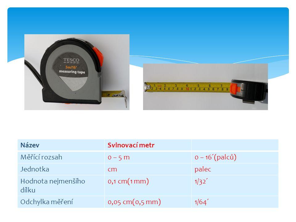 NázevSvinovací metr Měřící rozsah0 – 5 m0 – 16´(palců) Jednotkacmpalec Hodnota nejmenšího dílku 0,1 cm(1 mm)1/32´ Odchylka měření0,05 cm(0,5 mm)1/64´