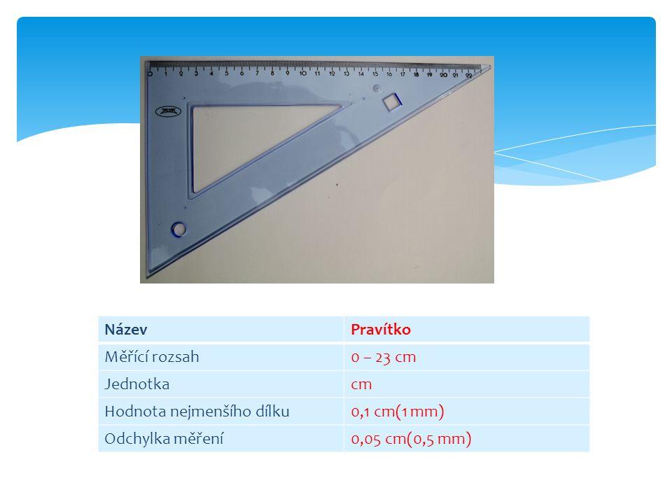 NázevPravítko Měřící rozsah0 – 23 cm Jednotkacm Hodnota nejmenšího dílku0,1 cm(1 mm) Odchylka měření0,05 cm(0,5 mm)
