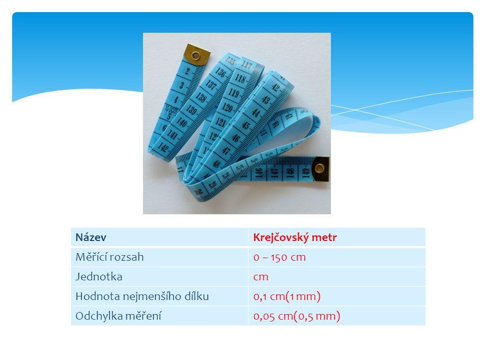 NázevKrejčovský metr Měřící rozsah0 – 150 cm Jednotkacm Hodnota nejmenšího dílku0,1 cm(1 mm) Odchylka měření0,05 cm(0,5 mm)