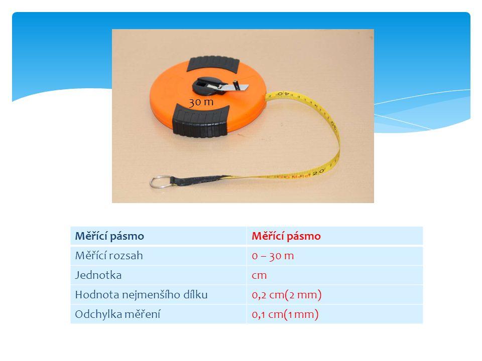 Měřící pásmo Měřící rozsah0 – 30 m Jednotkacm Hodnota nejmenšího dílku0,2 cm(2 mm) Odchylka měření0,1 cm(1 mm) 30 m
