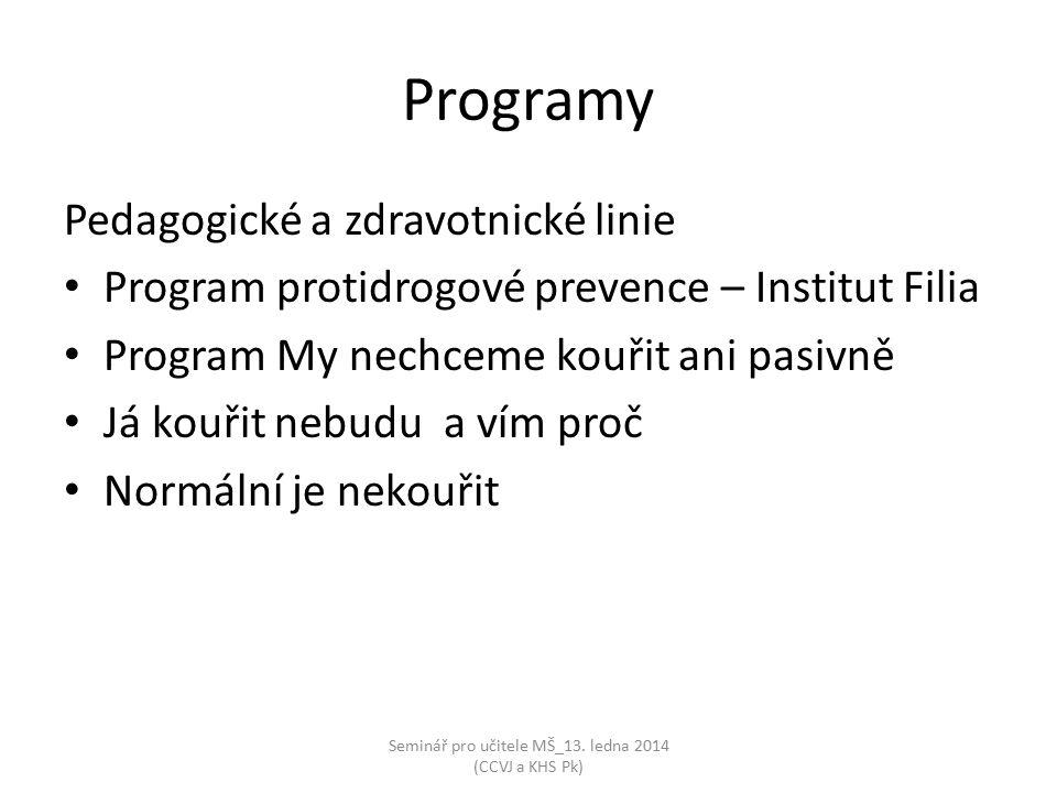 Seminář pro učitele MŠ_13. ledna 2014 (CCVJ a KHS Pk) Programy Pedagogické a zdravotnické linie Program protidrogové prevence – Institut Filia Program