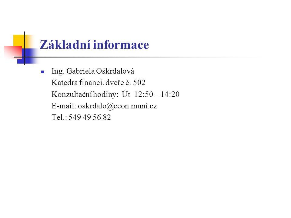 Základní informace Ing. Gabriela Oškrdalová Katedra financí, dveře č. 502 Konzultační hodiny: Út 12:50 – 14:20 E-mail: oskrdalo@econ.muni.cz Tel.: 549