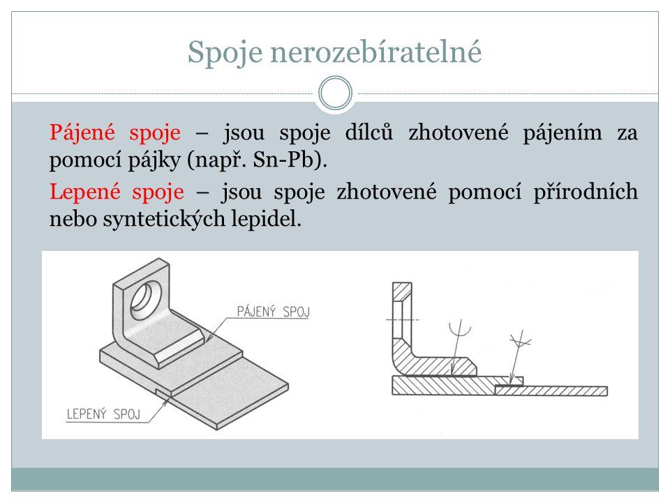 Spoje nerozebíratelné Pájené spoje – jsou spoje dílců zhotovené pájením za pomocí pájky (např.