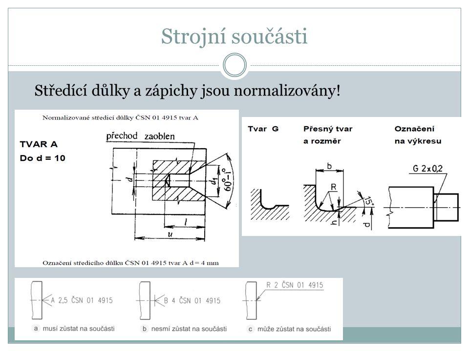 Strojní součásti Středící důlky a zápichy jsou normalizovány!
