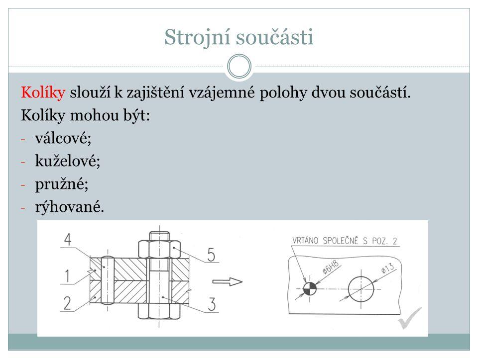 Strojní součásti Kolíky slouží k zajištění vzájemné polohy dvou součástí. Kolíky mohou být: - válcové; - kuželové; - pružné; - rýhované.
