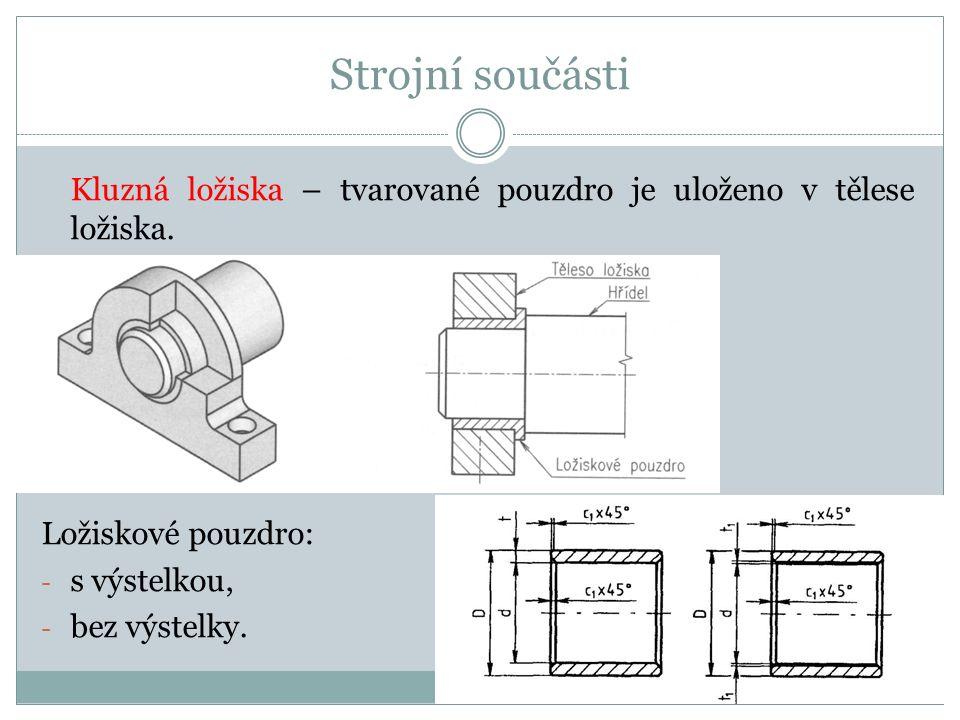 Strojní součásti Kluzná ložiska – tvarované pouzdro je uloženo v tělese ložiska.