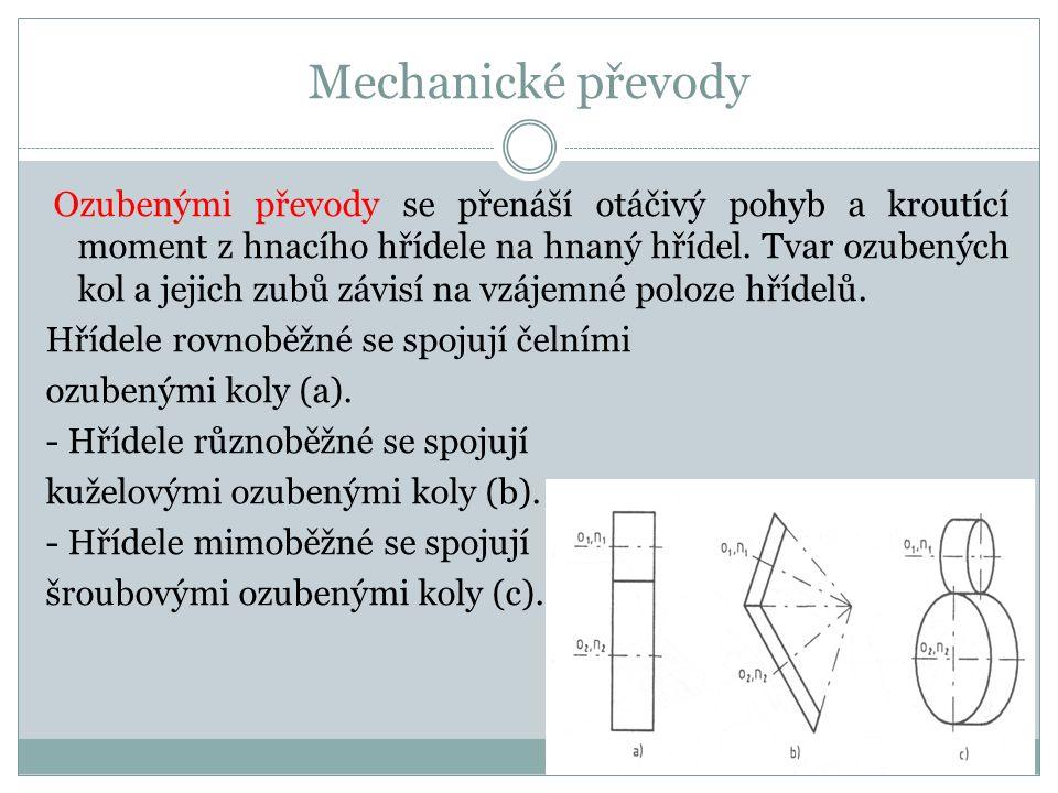 Mechanické převody Ozubenými převody se přenáší otáčivý pohyb a kroutící moment z hnacího hřídele na hnaný hřídel.