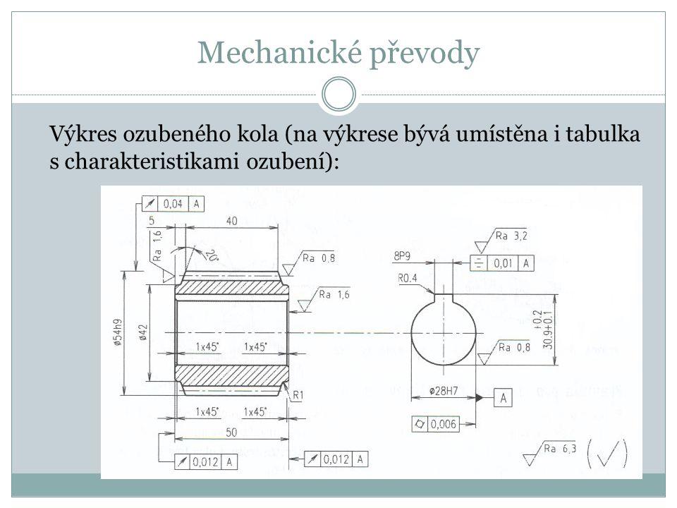 Mechanické převody Výkres ozubeného kola (na výkrese bývá umístěna i tabulka s charakteristikami ozubení):