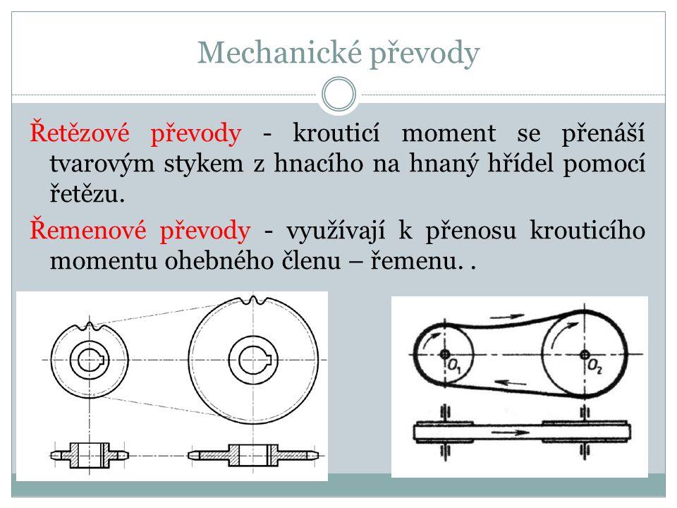 Mechanické převody Řetězové převody - krouticí moment se přenáší tvarovým stykem z hnacího na hnaný hřídel pomocí řetězu. Řemenové převody - využívají