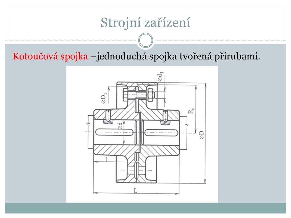 Strojní zařízení Kotoučová spojka –jednoduchá spojka tvořená přírubami.