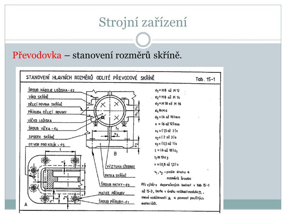 Strojní zařízení Převodovka – stanovení rozměrů skříně.