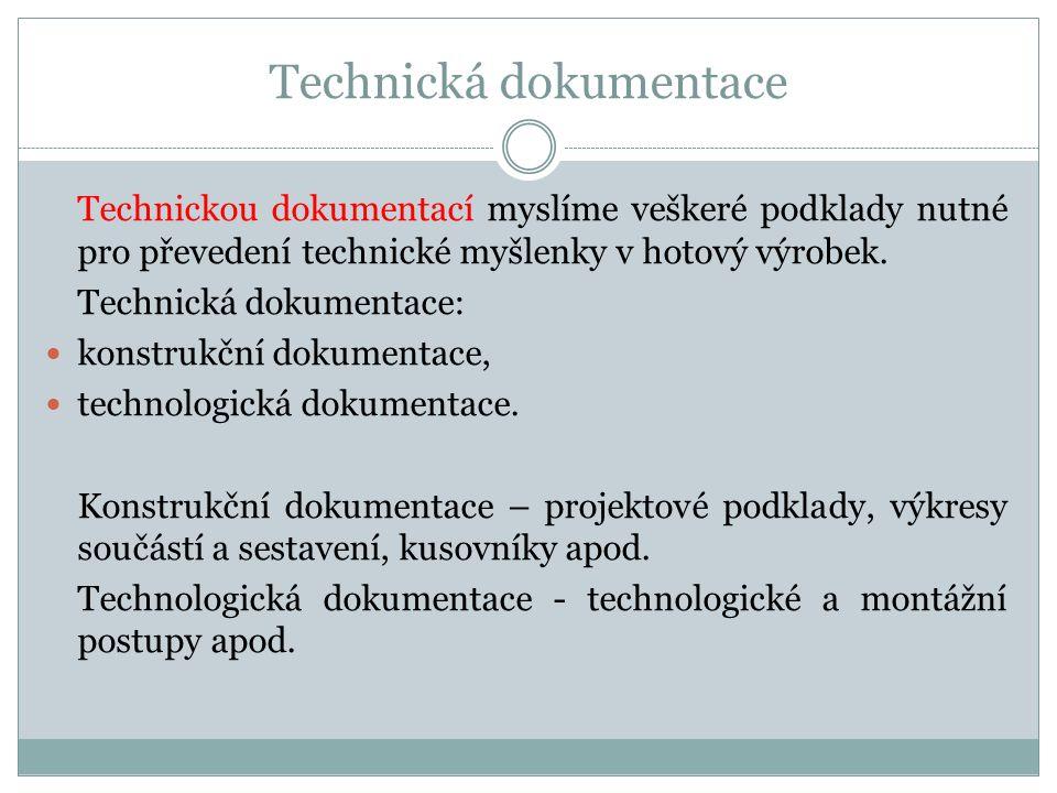Technická dokumentace Technickou dokumentací myslíme veškeré podklady nutné pro převedení technické myšlenky v hotový výrobek. Technická dokumentace: