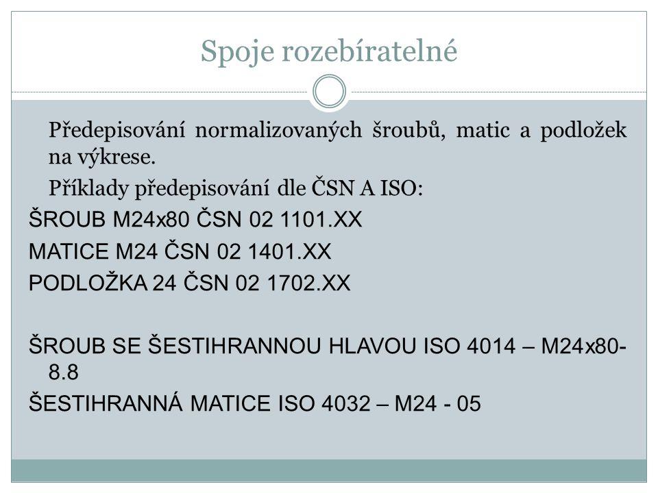 Spoje rozebíratelné Předepisování normalizovaných šroubů, matic a podložek na výkrese. Příklady předepisování dle ČSN A ISO: ŠROUB M24x80 ČSN 02 1101.