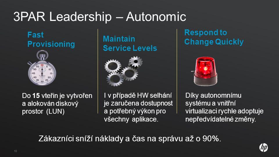 10 3PAR Leadership – Autonomic Zákazníci sníží náklady a čas na správu až o 90%.