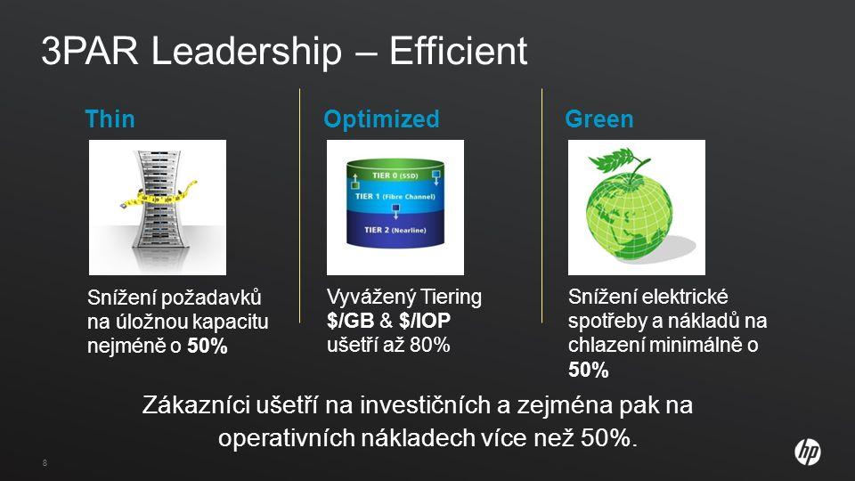 88 3PAR Leadership – Efficient Zákazníci ušetří na investičních a zejména pak na operativních nákladech více než 50%.