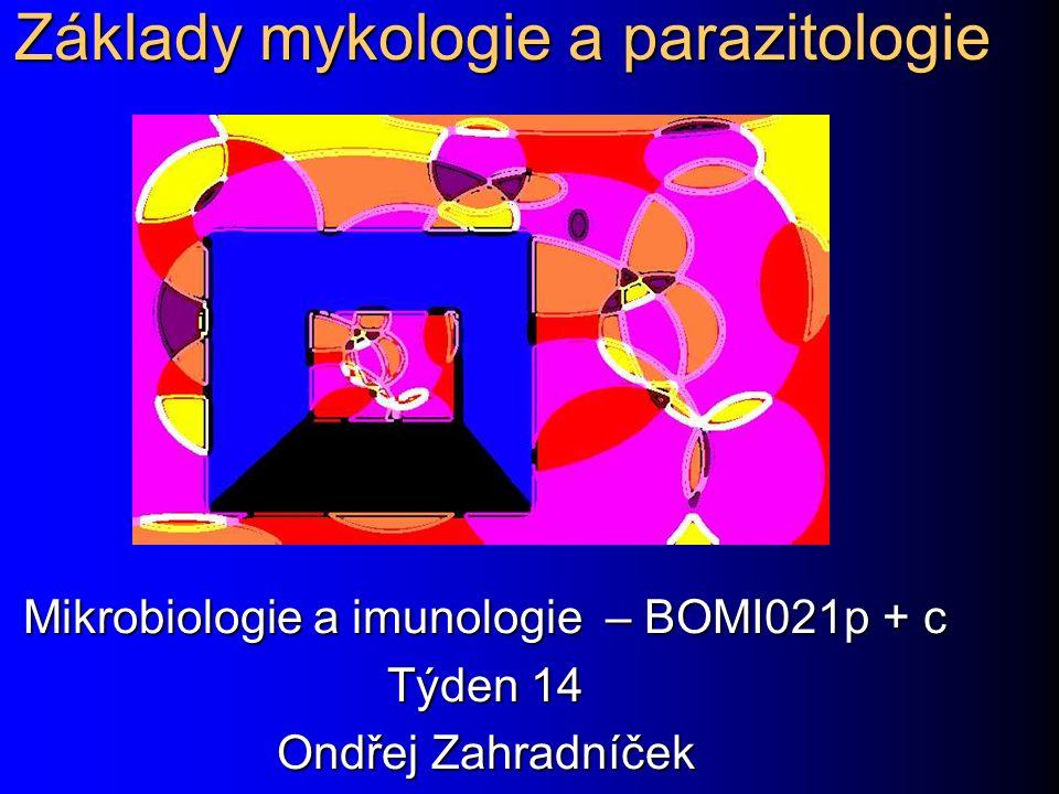 Základy mykologie a parazitologie Mikrobiologie a imunologie – BOMI021p + c Týden 14 Ondřej Zahradníček