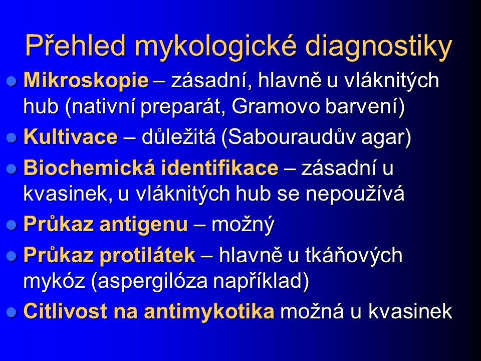 Zvláštnosti diagnostiky a léčby systémových mykóz Diagnostika: Diagnostika: pro přímý průkaz jakýkoli relevantní materiál: krev na hemokultivaci, punktáty, excize apod.