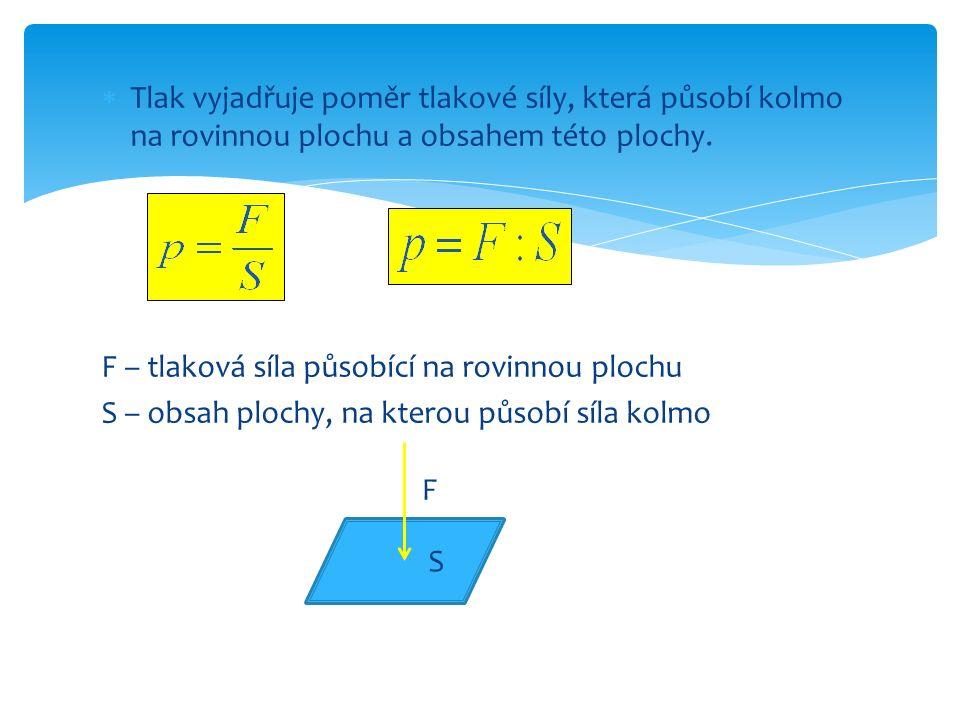  Tlak vyjadřuje poměr tlakové síly, která působí kolmo na rovinnou plochu a obsahem této plochy. F – tlaková síla působící na rovinnou plochu S – obs
