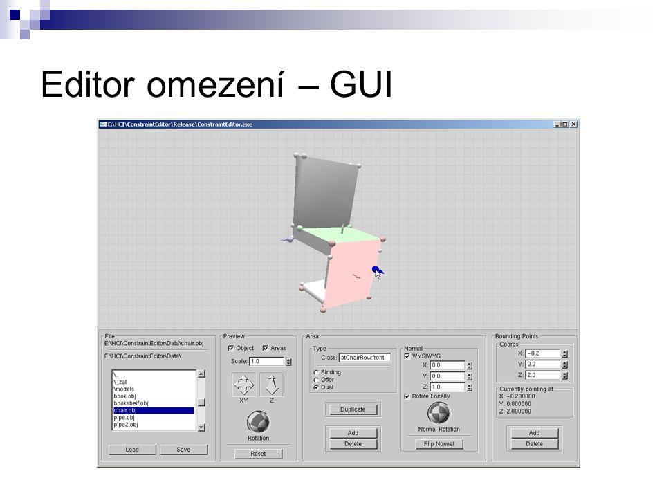 Editor omezení – GUI