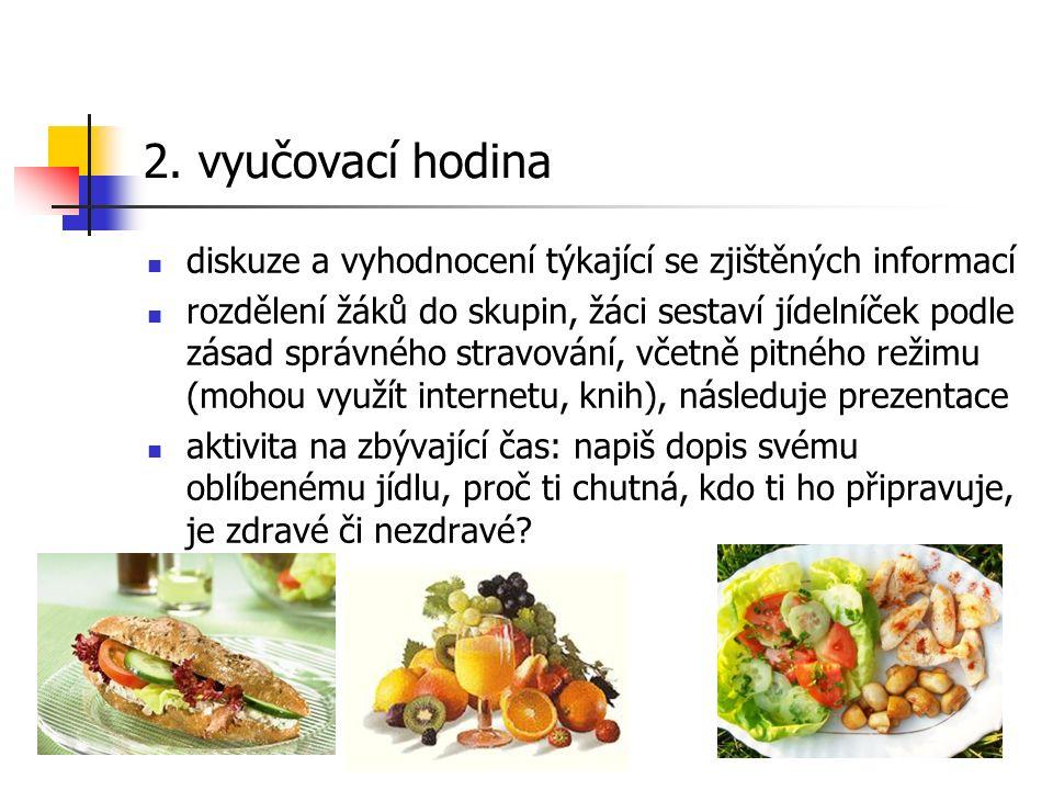 2. vyučovací hodina diskuze a vyhodnocení týkající se zjištěných informací rozdělení žáků do skupin, žáci sestaví jídelníček podle zásad správného str