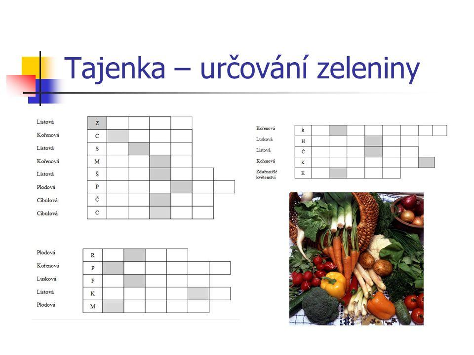 Tajenka – určování zeleniny