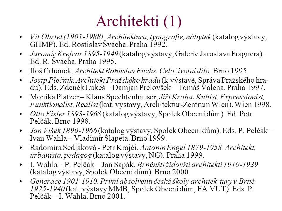 Architekti (1) Vít Obrtel (1901-1988). Architektura, typografie, nábytek (katalog výstavy, GHMP).