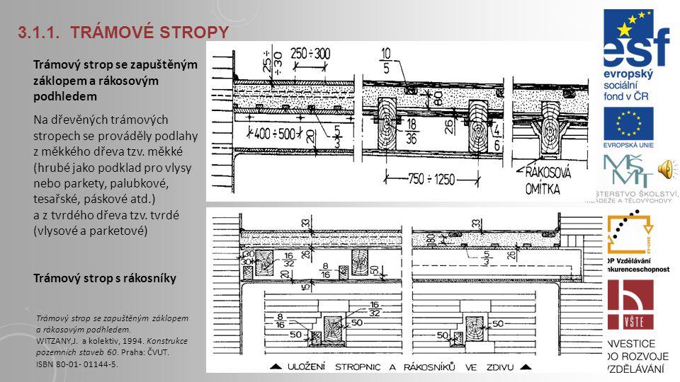 3.1.1. TRÁMOVÉ STROPY Svázání nosného cihelného zdiva s dřevěnými, popř. ocelovými stropnicemi uloženými v jeho kapsách Ukotvení trámu pomocí trámovýc