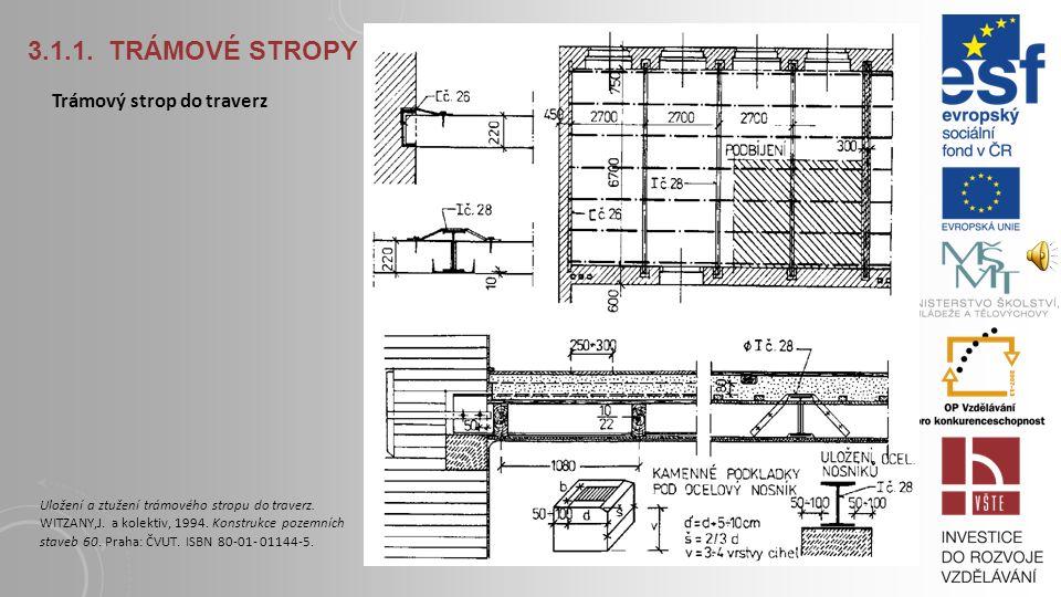 3.1.1. TRÁMOVÉ STROPY Trámový strop se zapuštěným záklopem a rákosovým podhledem Na dřevěných trámových stropech se prováděly podlahy z měkkého dřeva