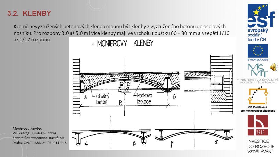 3.2. KLENBY Klenby jsou namáhány tlakem → lze je provést z prostého betonu, zejména do ocelových nosníků. Klenba z prostého betonu do traverz. WITZANY