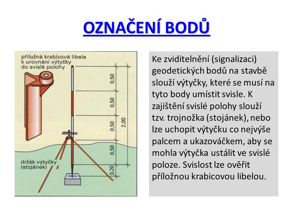 OZNAČENÍ BODŮ Ke zviditelnění (signalizaci) geodetických bodů na stavbě slouží výtyčky, které se musí na tyto body umístit svisle. K zajištění svislé