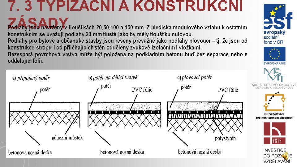 7) Dělení podlah podle provozního zatížení: – lehké provozy : do 15 MPa – normální provozy : do 35 MPa – středně těžké provozy : do 100 MPa – těžké pr