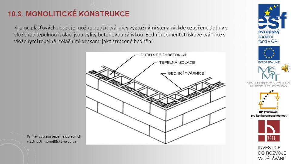 10.3. MONOLITICKÉ KONSTRUKCE Monolitické konstrukce také mohou vznikat ukládáním betonové směsi do bednění, které zůstává součástí stavby (tzv. ztrace